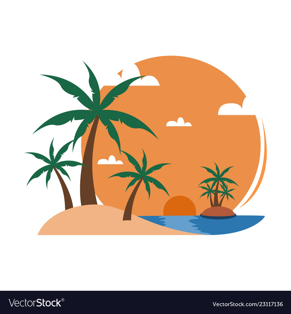Palm trees sunset clipart banner black and white download Simple beach palm trees sunset view travel island banner black and white download