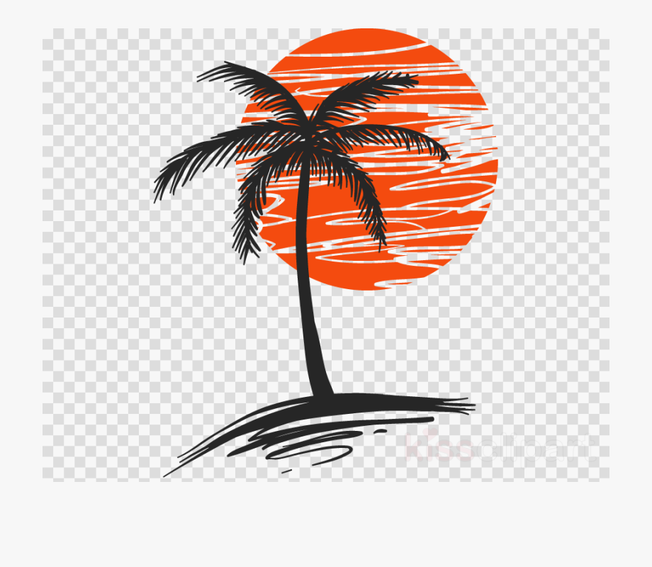 Palm trees sunset clipart picture black and white library Transparent Sunset Clipart Png - Vector Palm Tree Png ... picture black and white library