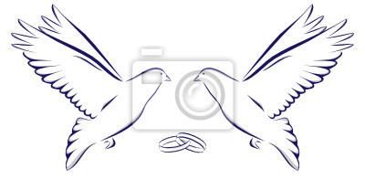 Palomas de boda clipart jpg royalty free library Cuadro: Dos palomas con dos anillos de boda cómo celebración casado jpg royalty free library