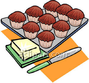 Pan of baked goods clipart jpg black and white stock Pan of Muffins - Royalty Free Clipart Picture jpg black and white stock