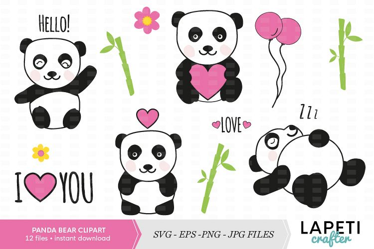 Panda clipart cute svg transparent Cute panda bear clipart set svg transparent