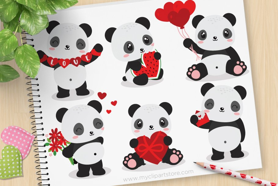 Pandas clipart graphic transparent library Valentine Pandas Clipart + SVG graphic transparent library