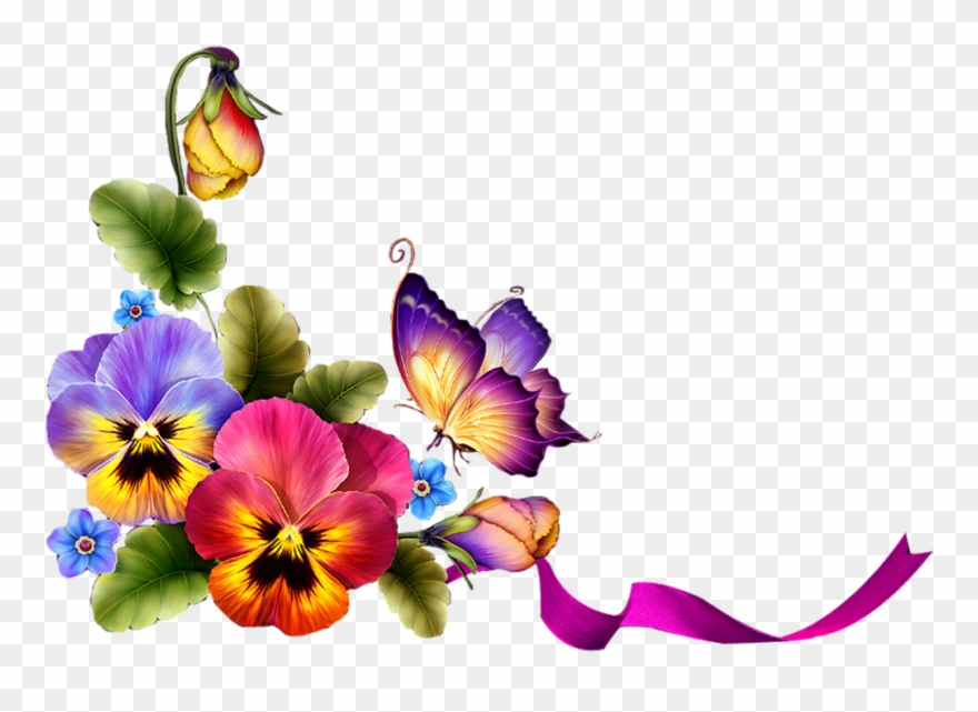 Pansy border clipart black and white download Фотки Stunning Wallpapers, Special Flowers, Borders - Border ... black and white download