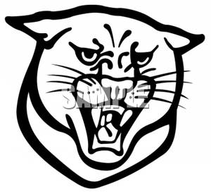 Panther mascot clipart black and white clip transparent library Black and White Panther Mascot Growling - Clipart clip transparent library