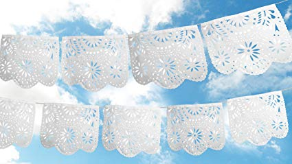 Papel picado clipart numbers black and white wedding svg black and white Fiesta Brands 2 Pack.White Ceremony. Mexican Papel Picado Banner..Stunning  Pure White Tissue Paper. Large Size Panels. Beautiful Flowers Design svg black and white