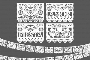 Papel picado clipart numbers black and white wedding transparent library Papel picado Photos, Graphics, Fonts, Themes, Templates ... transparent library