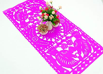 Papel picado clipart numbers black and white wedding clipart freeuse stock Amazon.com: Mexican Wedding Decoration, Pink Table Runner ... clipart freeuse stock