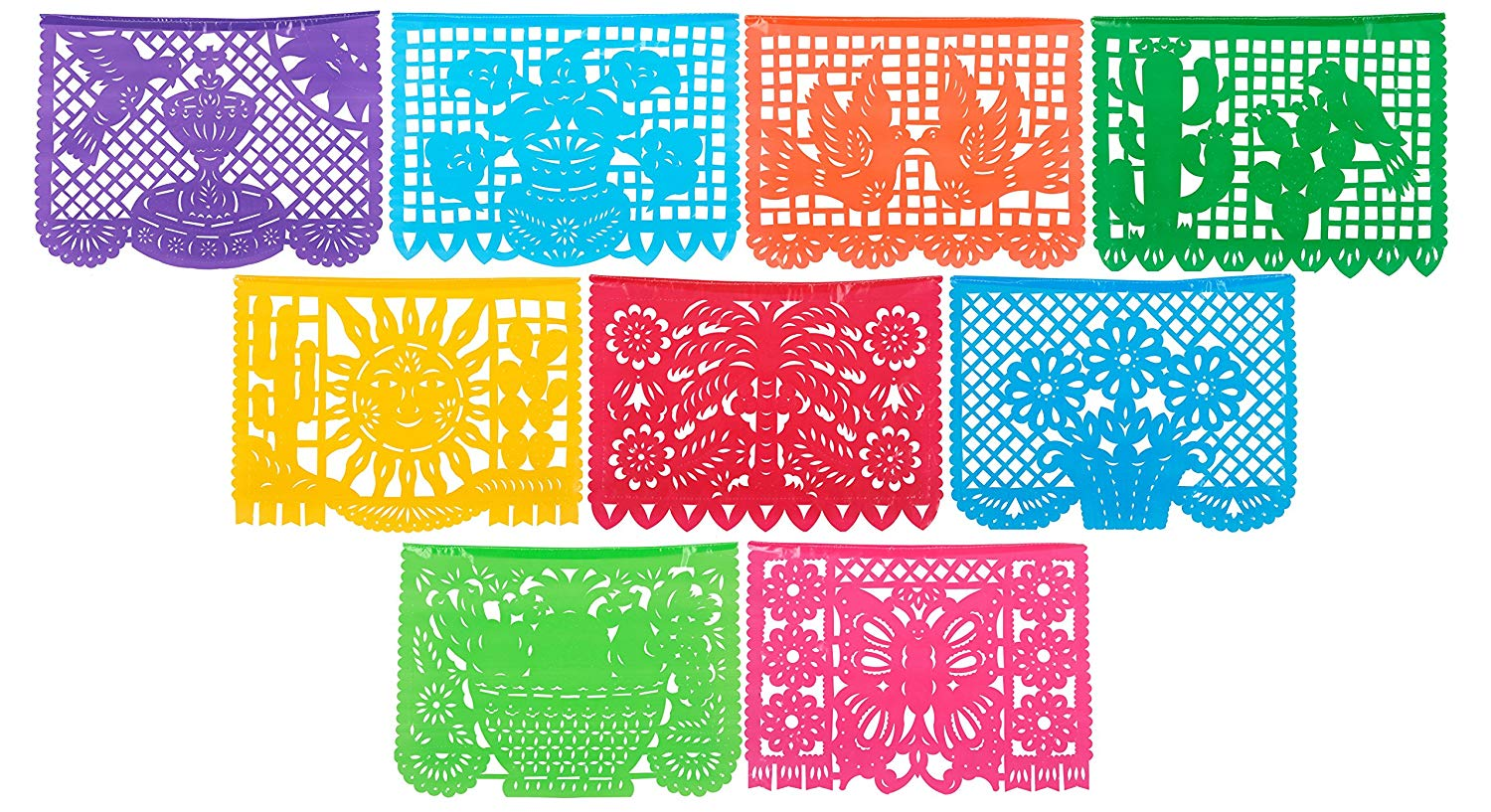 Papel picado clipart numbers black and white wedding clip art library library Paper Full of Wishes Festival Mexicano Large Plastic Papel Picado Banner, 9  Multi-Colored Panels 15 feet Long clip art library library