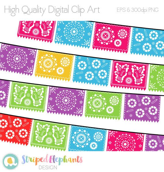 Papel picado clipart numbers black and white wedding