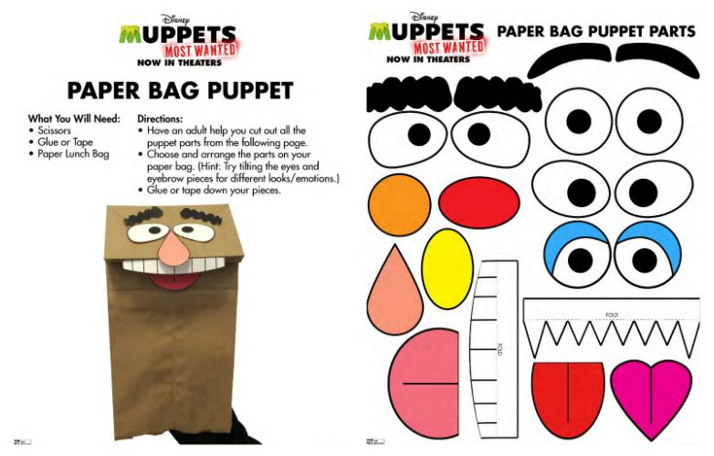 Paper bag eyes clipart stock Muppets Paper Bag Puppet Craft | Printable Coloring Pages, Crafts ... stock