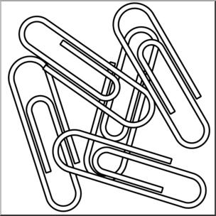 Paper clips clipart clipart freeuse Clip Art: Paper Clips 2 B&W I abcteach.com | abcteach clipart freeuse