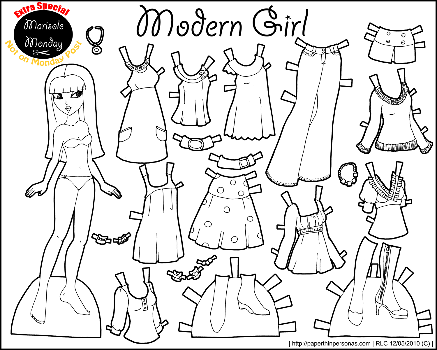 Paper doll clipart black and white banner free Marisole Monday: Modern Girl In Black & White • Paper Thin ... banner free