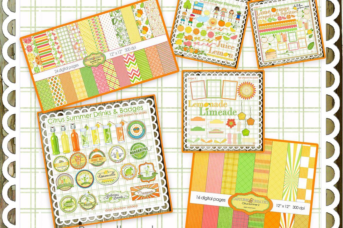 Paper element clipart vector free Mega Citrus Summer Paper & Element/Clipart Collection--Buy All-Save Big! vector free
