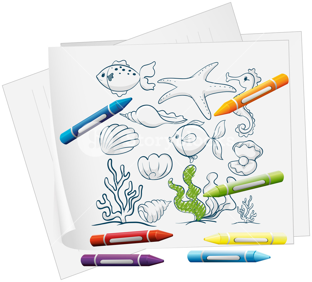 Paper to draw on with crayons clipart png free stock Illustration of a paper with a drawing of sea creatures and ... png free stock