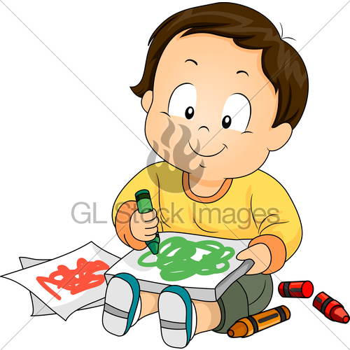 Paper to draw on with crayons clipart clip Kid Boy Toddler Paper Crayon Doodle · GL Stock Images clip