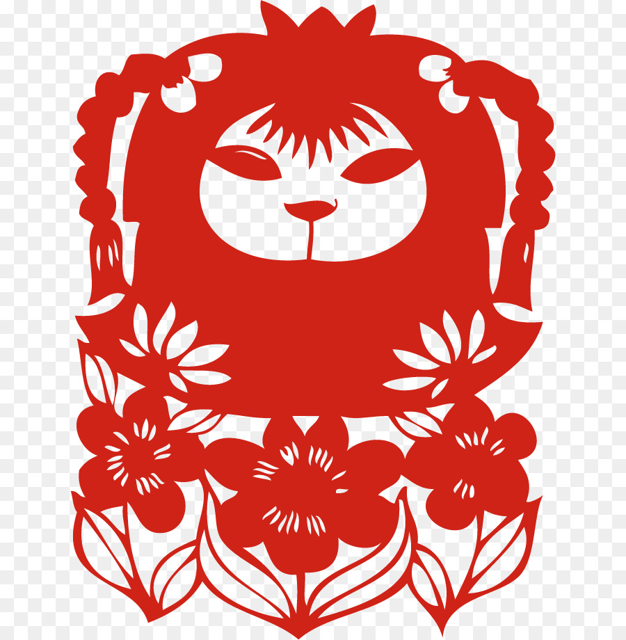 Papercut vector clipart clipart black and white stock Chinese New Year Red Background png download - 698*920 ... clipart black and white stock