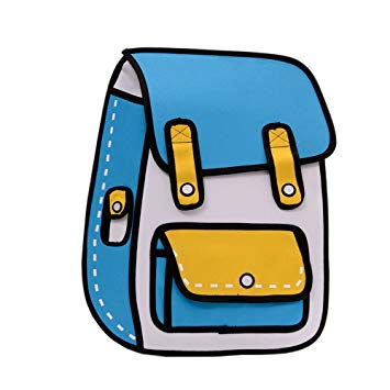Papers flying out of a backpack clipart banner free library Flyfish 3D Jump Style 2D Drawing From Cartoon Paper Comic Backpack School  Shoulder Bag (A) banner free library