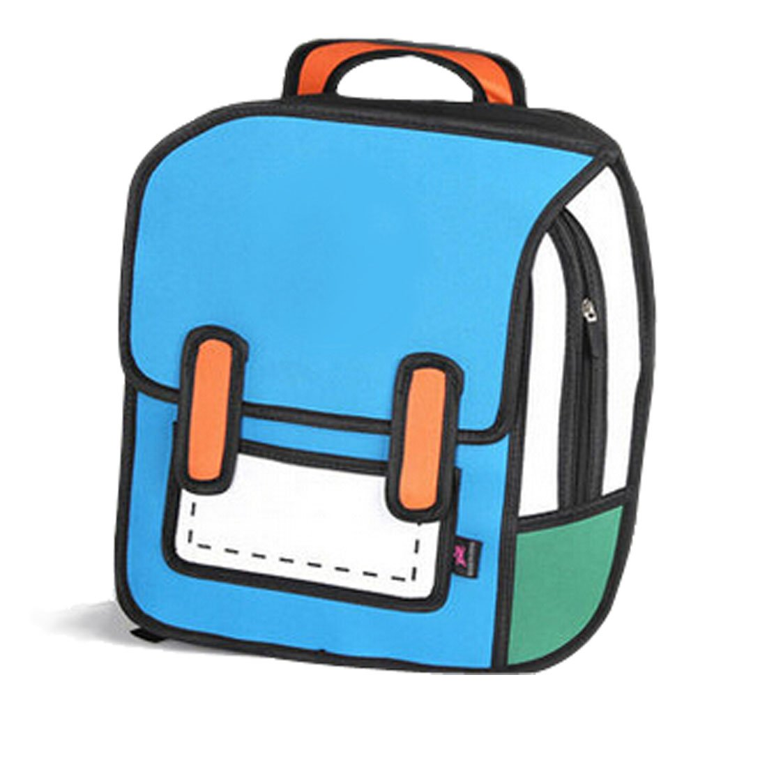Papers flying out of a backpack clipart download 3D Jump Style 2D Drawing From Cartoon Paper Comic Backpack ... download