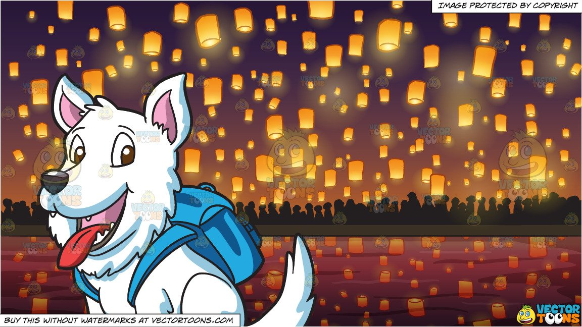 Papers flying out of a backpack clipart graphic free A Small White Dog With A Backpack and Flying Paper Lanterns At Diwali  Festival Background graphic free