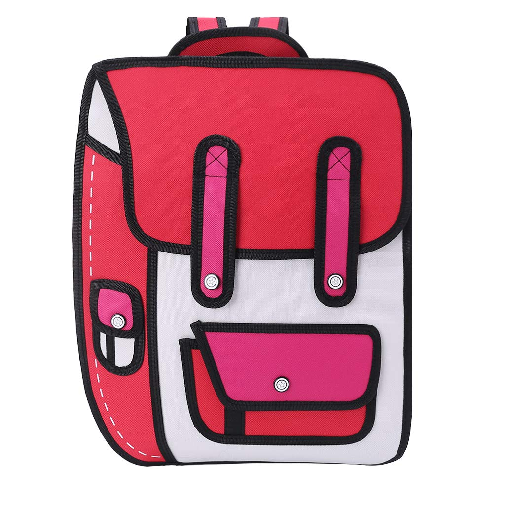 Papers flying out of a backpack clipart image library library JAGENIE 3D Jump Style 2D Drawing from Cartoon Paper Backpack Shoulder Bag  Comic Bookbag Red image library library