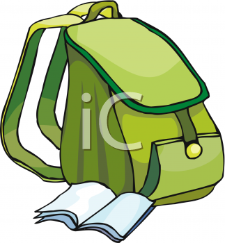 Papers flying out of a backpack clipart picture Clip Art Picture Of A Green School Bag picture