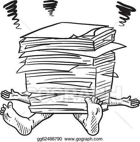 Paperwork clipart svg freeuse download Vector Stock - Paperwork stress sketch. Clipart Illustration ... svg freeuse download