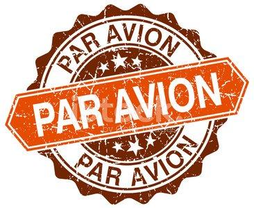 Par avion clipart stock Par Avion Orange Round Grunge Stamp ON White premium clipart ... stock