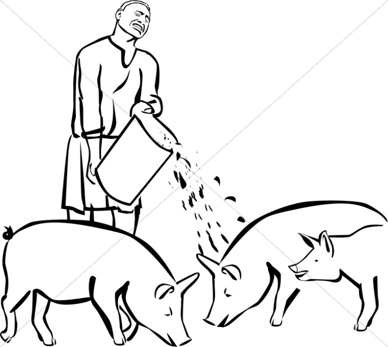 Prodigal son in pig pen clipart clip art royalty free Prodigal Son Feeding Pigs Clipart | New Testament Clipart clip art royalty free