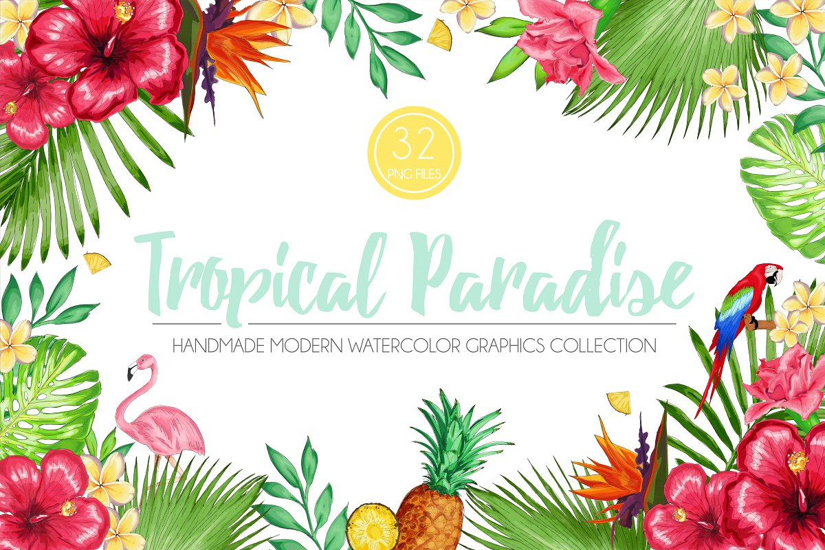 Paradise foods clipart graphic transparent Tropical Paradise Graphic Set ~ Illustrations ~ Creative Market graphic transparent