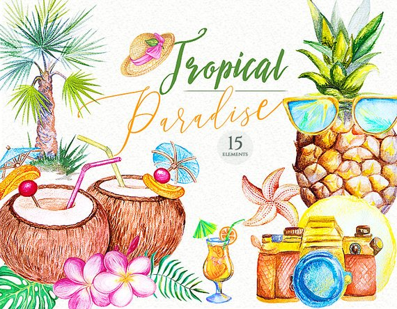 Paradise foods clipart svg freeuse Watercolor tropical paradise clipart summer travel ... svg freeuse