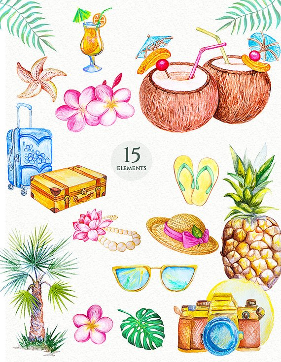 Watercolor tropical paradise clipart summer travel ... clipart free stock