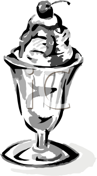 Parfait glass clipart jpg transparent download Black and White Clip Art of an Ice Cream Sundae in an Old Fashioned ... jpg transparent download