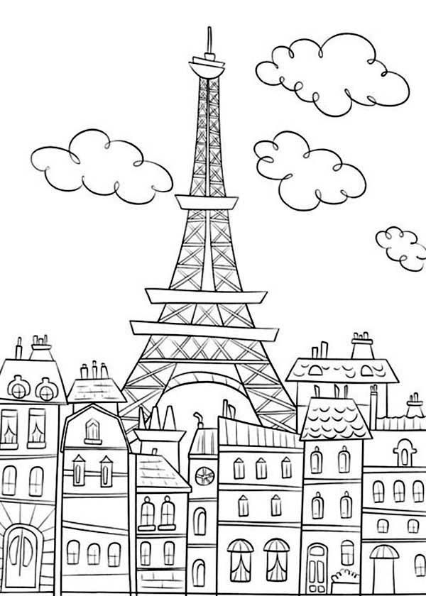 Paris france clipart coloring pre k notredame clipart freeuse Eiffel Tower Coloring Pages and Book | UniqueColoringPages | kids ... clipart freeuse
