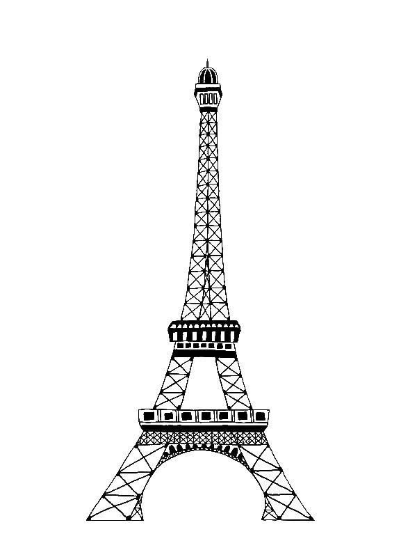 Paris france clipart coloring pre k notredame graphic transparent stock The Famous of Eiffel Tower Coloring Page by years old | String Art ... graphic transparent stock