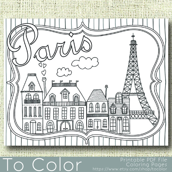 Paris france clipart coloring pre k notredame jpg Printable Paris Coloring Page for Adults, PDF / JPG, Instant ... jpg