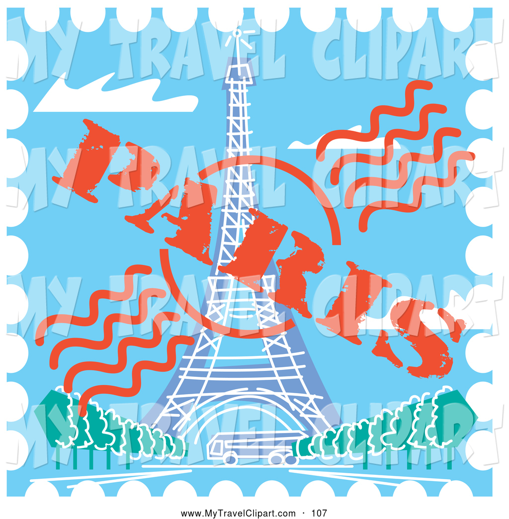 Paris stamp clipart banner library download Clipart of a Postage Stamp with the Eiffel Tower in Paris, France ... banner library download