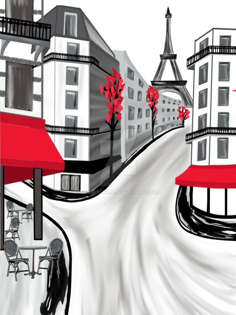 Paris street clipart graphic black and white A black, white and red Paris street scene by LeonessaRN on DeviantArt graphic black and white