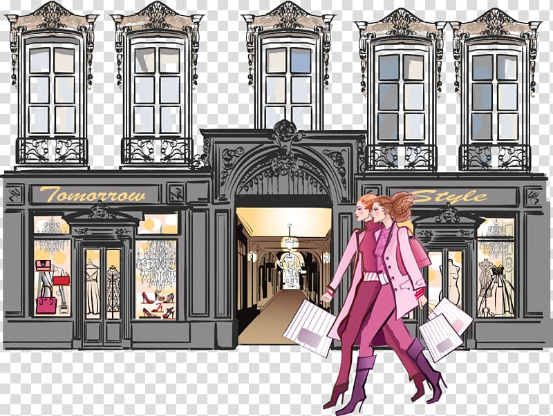 Paris street clipart clipart transparent library Two girls walking in front of building illustration, Paris ... clipart transparent library