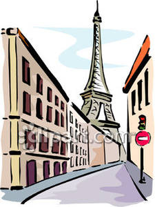Paris street clipart jpg free stock The Eiffel Tower From the Streets of Paris - Royalty Free Clipart ... jpg free stock