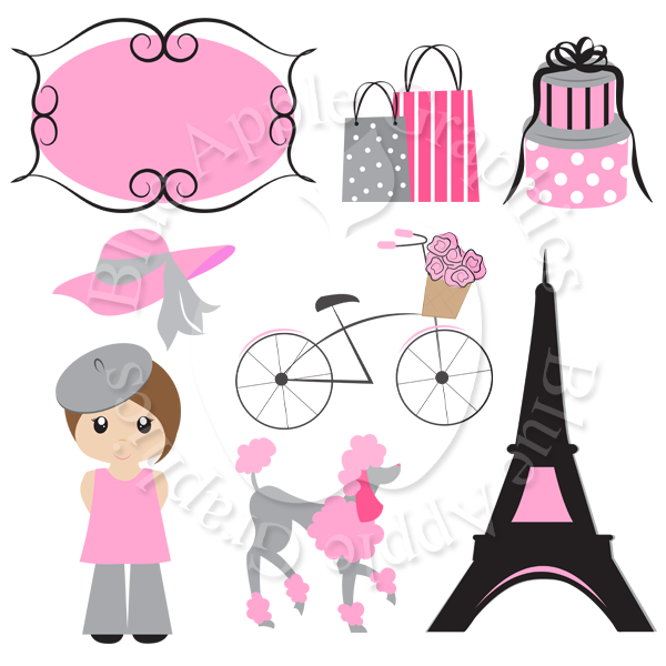 Paris vector clipart clipart free Pretty Pink Paris Clipart Pack - PNG (Vector) Clipart Images sold by Blue  Apple Graphics clipart free