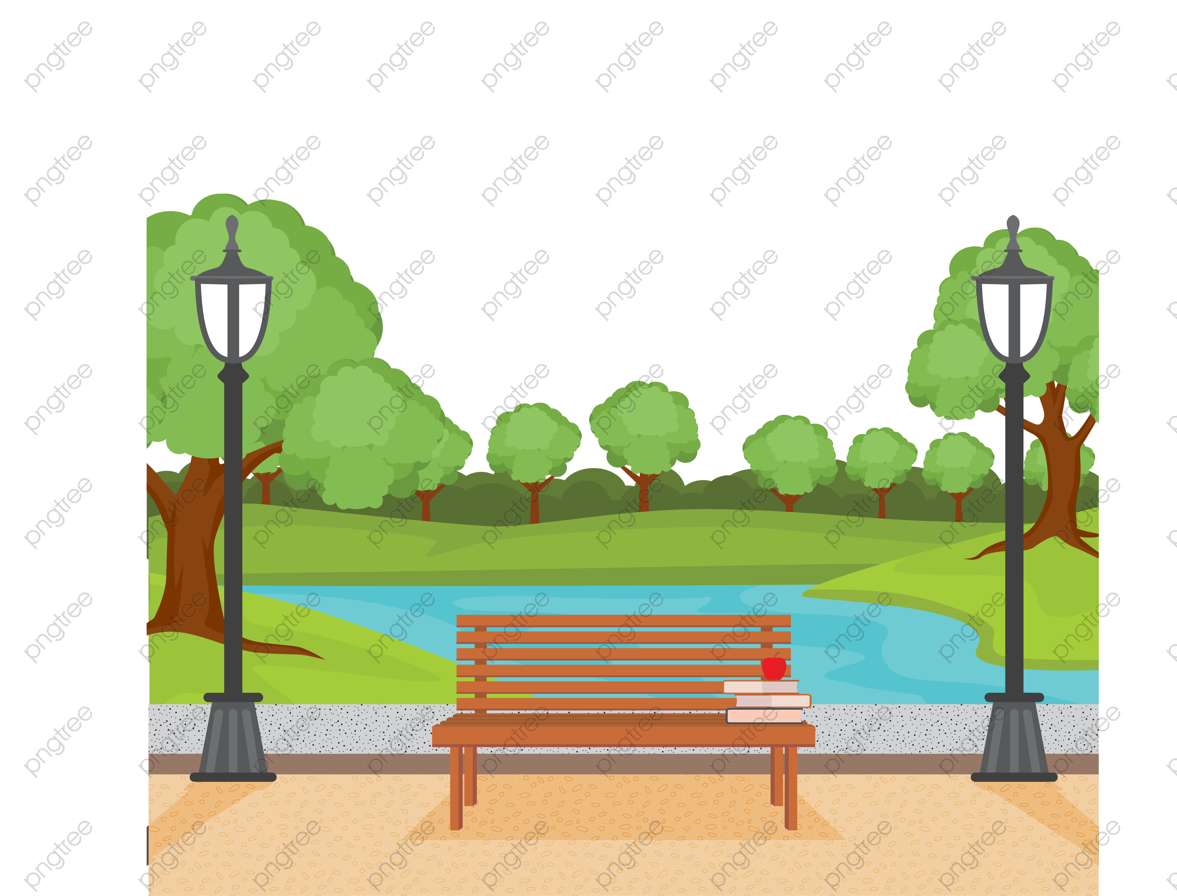 Park bench from behind clipart graphic library library Download Free png Transparent city park benches and scenery ... graphic library library