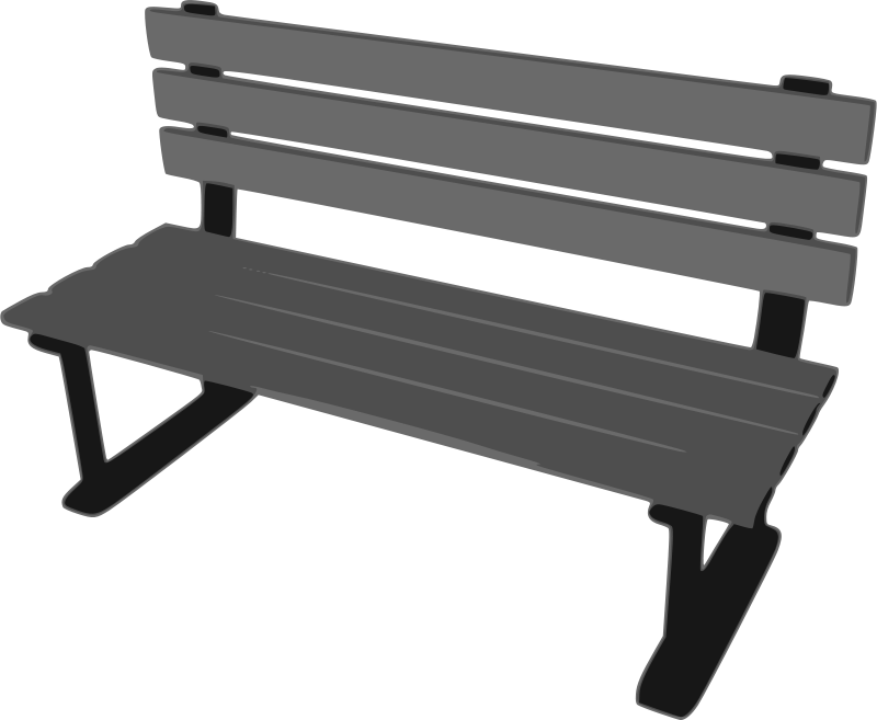 Park bench from behind clipart image black and white Free Clipart: Park Bench | mazeo image black and white