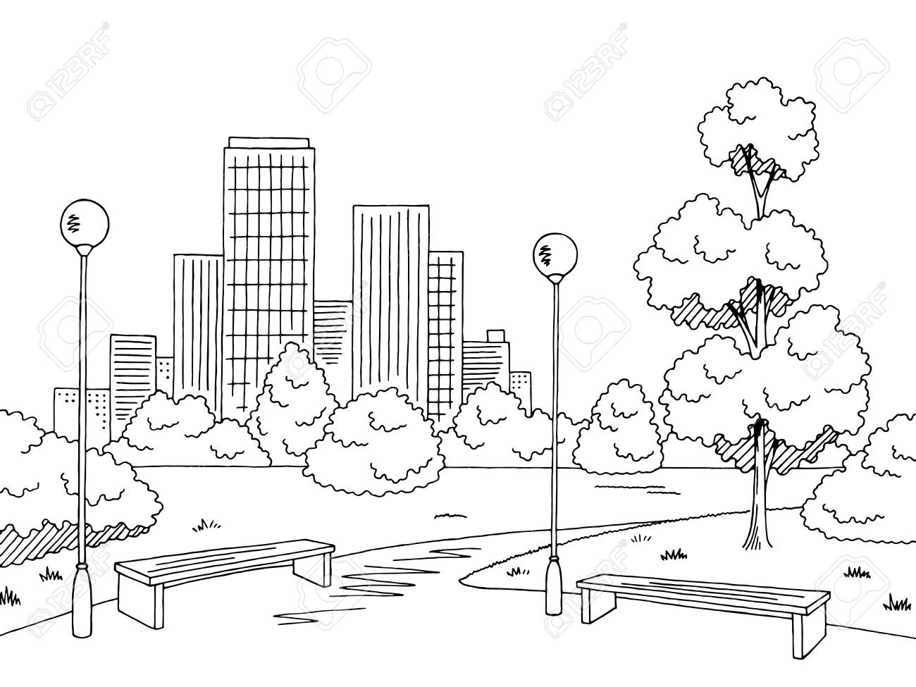 Park clipart black and white banner freeuse stock Park black and white clipart 6 » Clipart Station banner freeuse stock