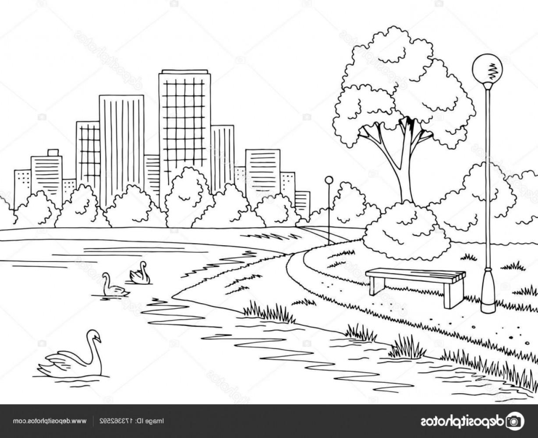 Park black and white clipart jpg free stock Stock Illustration Park Lake Graphic Black White   SOIDERGI jpg free stock