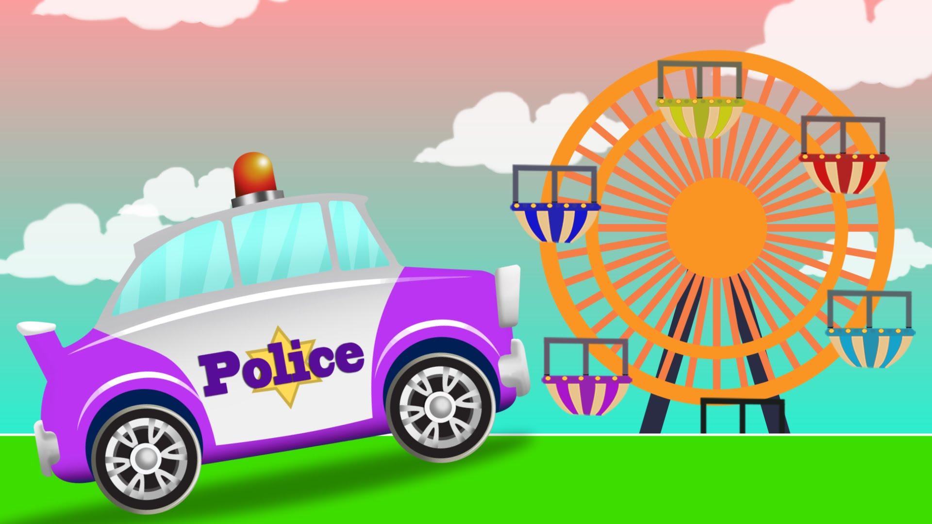 Park police clipart car image transparent library Police Car Adventures | Amusement Park | Cops Car for Children ... image transparent library