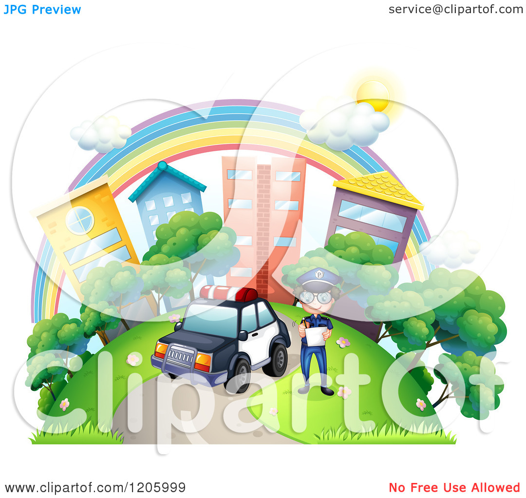 Park police clipart car graphic black and white Cartoon of a Police Man by His Car in a City Park Under a Rainbow ... graphic black and white