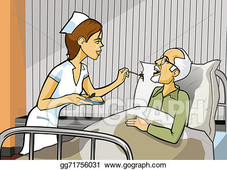 Partient eating in bed in the hospital clipart clip royalty free download Clipart - Nurse and hospital. Stock Illustration gg71756031 ... clip royalty free download