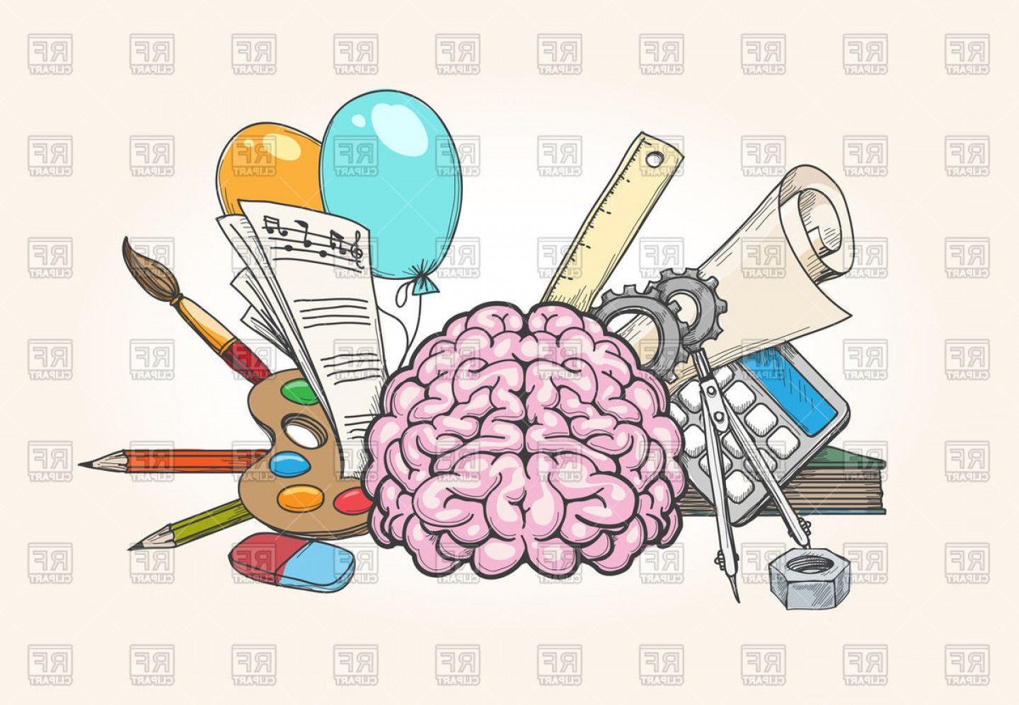 Parts of the brain clipart black and white Left And Right Brain Concept Human Brain Creativity And ... black and white