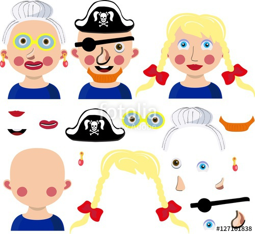 Parts of the face fill in free clipart graphic royalty free library Funny cartoon face parts: girl, pirate, granny.\