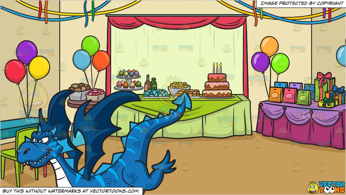 Party background clipart svg royalty free A Cool Looking Dragon and A Birthday Party Background svg royalty free
